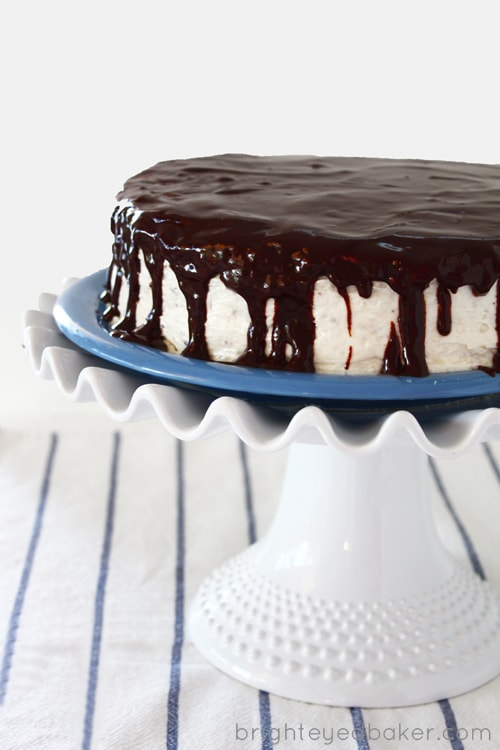 Post image for Confession #64: I'm Cake Deprived… Chocolate Cake with Cream Cheese Frosting and Satiny Chocolate Glaze