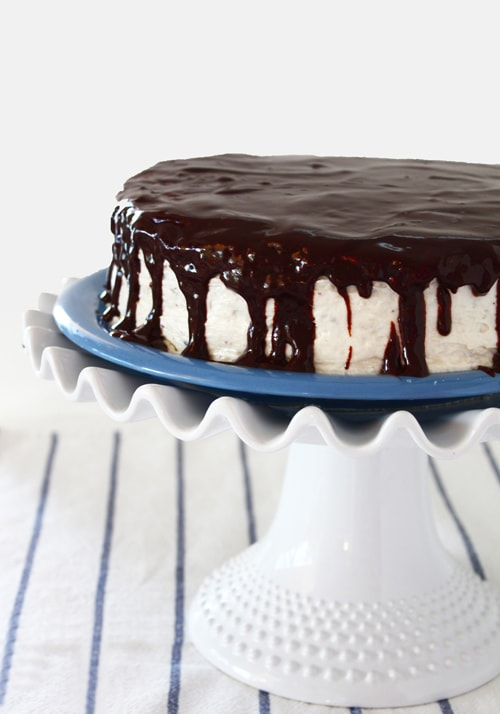 Chocolate Cake with Cream Cheese Frosting and Satiny Chocolate Glaze