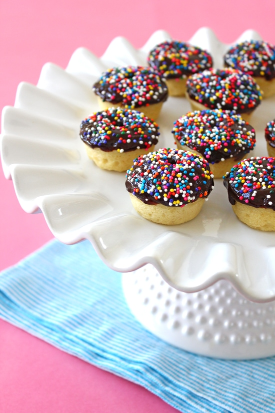Chocolate-Glazed Baked Mini Doughnuts from Confessions of a Bright-Eyed Baker