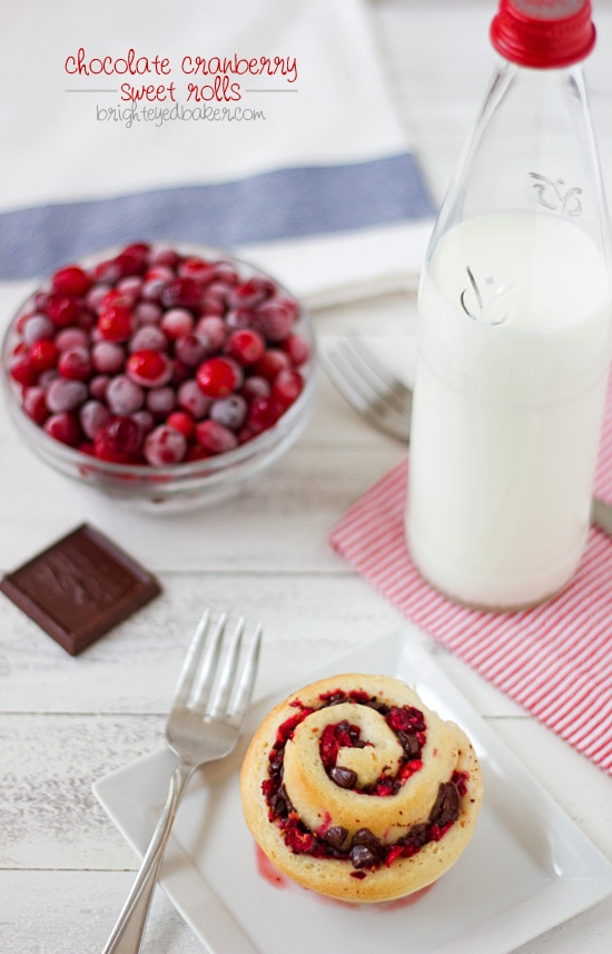 Chocolate Cranberry Sweet Rolls from Confessions of a Bright-Eyed Baker