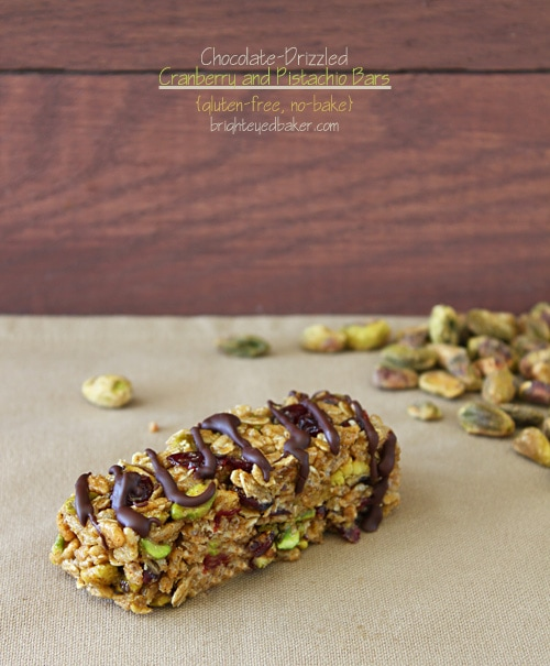 Chocolate Drizzled Cranberry and Pistachio Bar