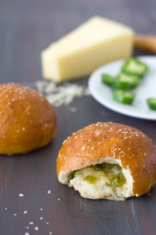 Cheese and Jalapeño Stuffed Pretzel Rolls   brighteyedbaker.com