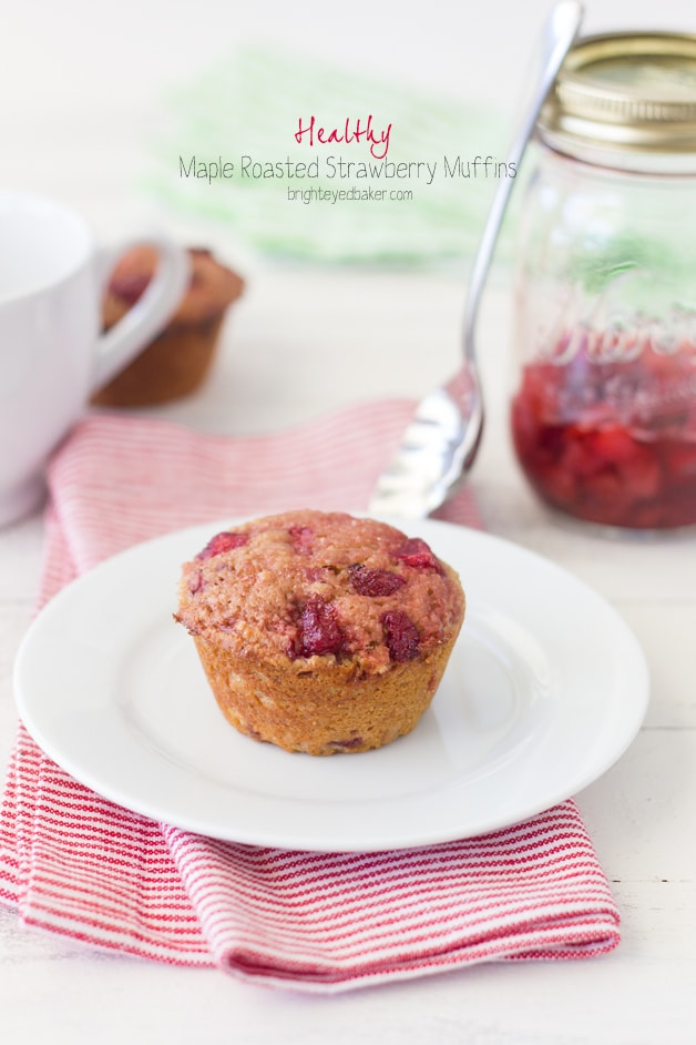 Healthy Maple Roasted Strawberry Muffins | brighteyedbaker.com