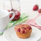 Healthy Maple Roasted Strawberry Muffins
