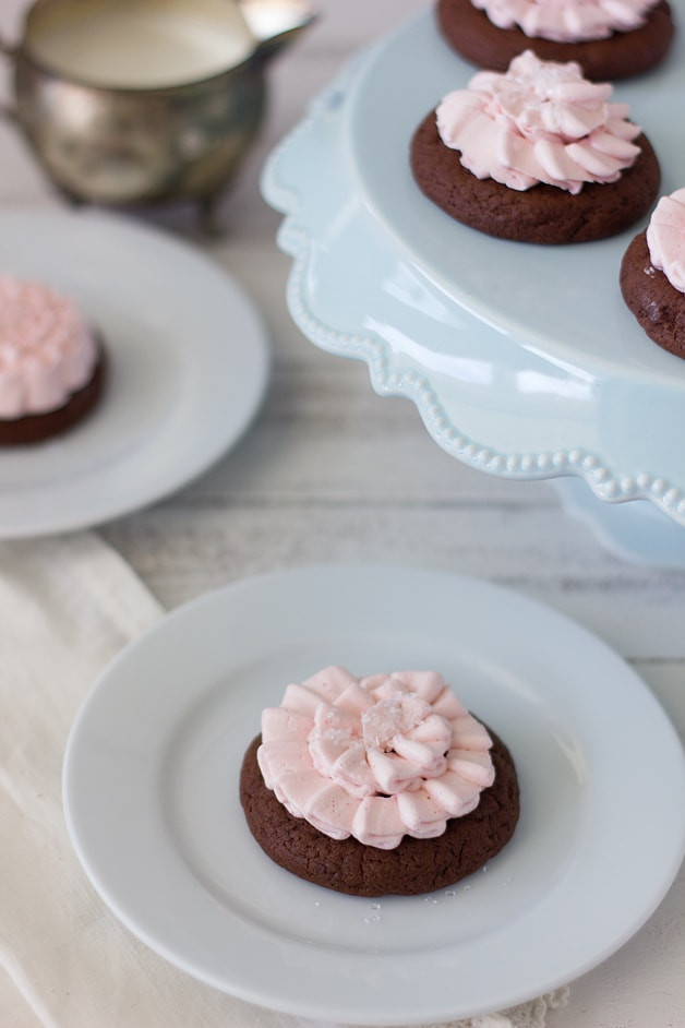 Strawberry Frosted Ruffle Cookies | brighteyedbaker.com