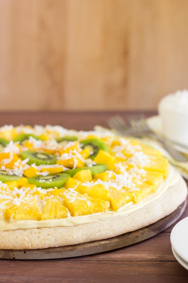 Tropical Fruit Pizza | www.brighteyedbaker.com