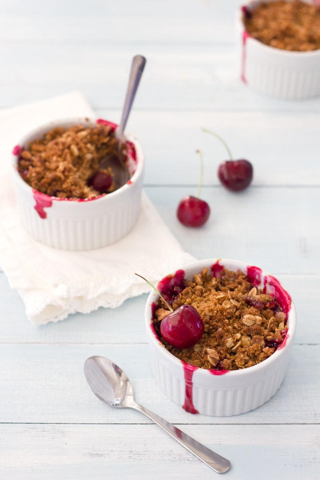 Brown Butter Cherry Crumbles | brighteyedbaker.com