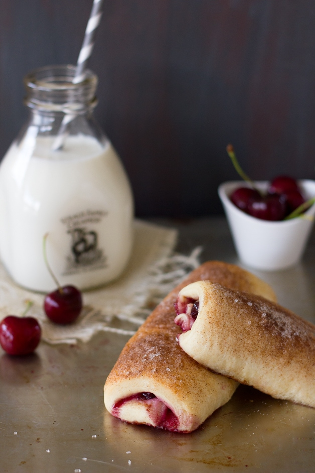 Cherry Cinnamon Sugar Roll-Ups | brighteyedbaker.com