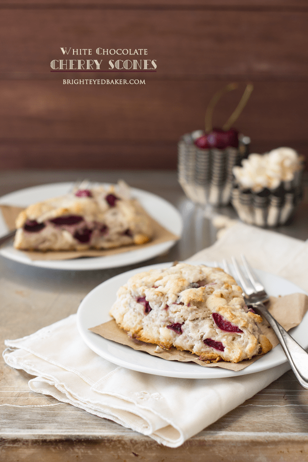 White Chocolate Cherry Scones | brighteyedbaker.com