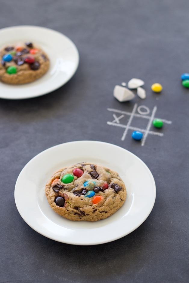 Soft-Baked M&M's Chocolate Chip Cookies - Super-soft, chewy cookies filled with colorful M&M's and chunks of chocolate. From @brighteyedbaker | brighteyedbaker.com