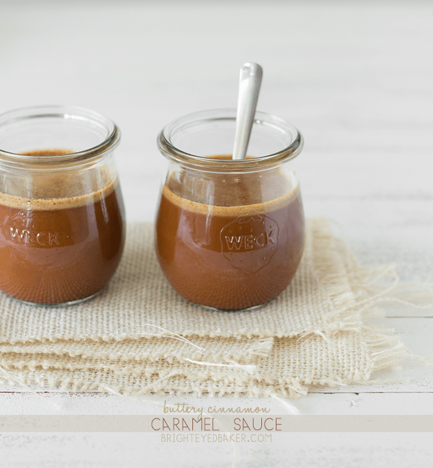 Easy Buttery Cinnamon Caramel Sauce - made without cream! From Confessions of a Bright-Eyed Baker