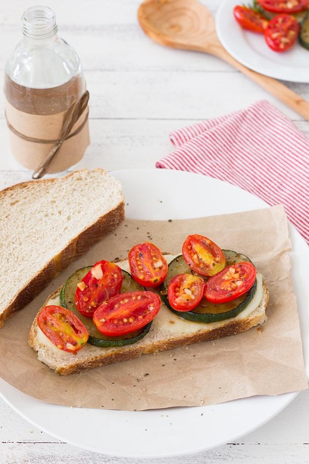 "Sautéed Tomato, Zuchinni, and Mozzarella Sandwich - a super easy, ""gourmet"" veggie sandwich recipe   from brighteyedbaker.com @ brighteyedbaker"