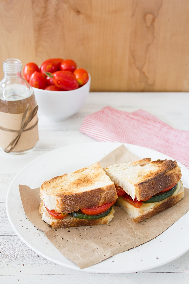 "Sautéed Tomato, Zuchinni, and Mozzarella Sandwich - a super easy, ""gourmet"" veggie sandwich recipe 