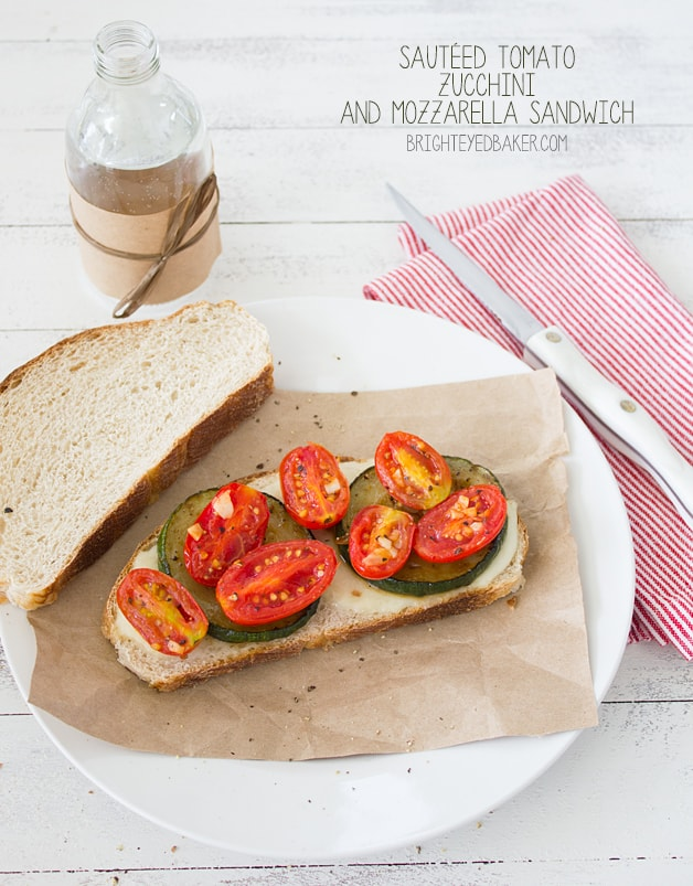 Sautéed Tomato, Zuchinni, and Mozzarella Sandwich - a super easy,