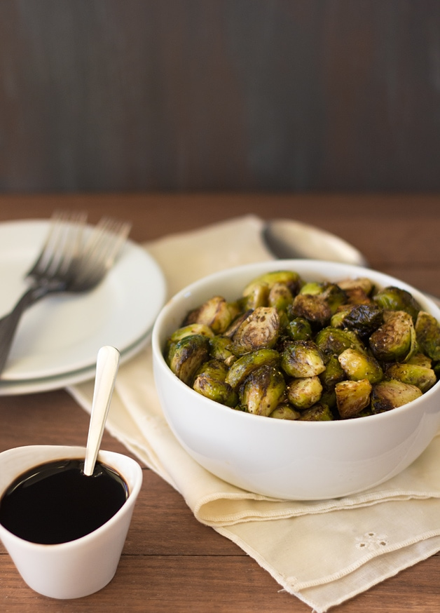 Balsamic Roasted Brussels Sprouts - an easy and healthy vegetarian side dish that you'll actually WANT to eat! - brighteyedbaker.com