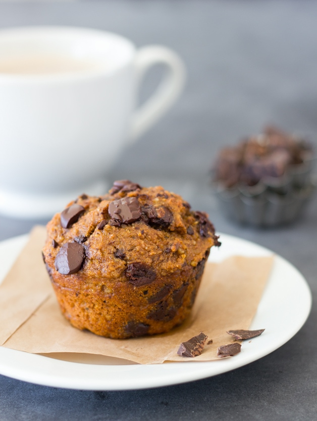 Healthier Pumpkin Chocolate Chip Muffins - Tender and moist, chocolate ...