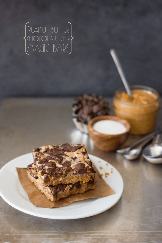 Peanut Butter Chocolate Chip Magic Bars Recipe - a peanut butter graham cracker cookie base layered with sweet and gooey sweetened condensed milk, chocolate chips, and peanut butter chips. A fast, easy, addicting dessert! | brighteyedbaker.com