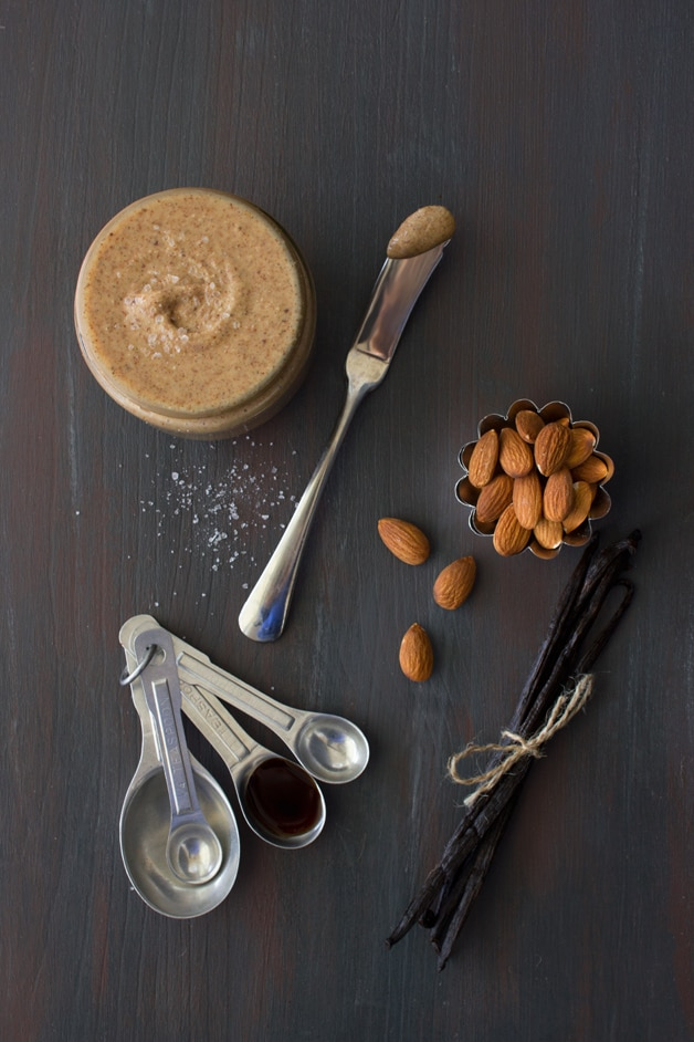 DIY Almond Butter {with Vanilla Bean & Sea Salt} - a naturally sweet and healthy nut butter that you can whip up in minutes.   www.brighteyedbaker.com