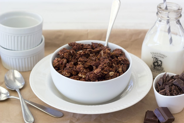 Double Chocolate, Almond, and Coconut Granola - a perfectly crunchy granola filled with chocolate-y clumps of oats, almonds, and coconut flakes, with chunks of dark chocolate in every bite.   www.brighteyedbaker.com