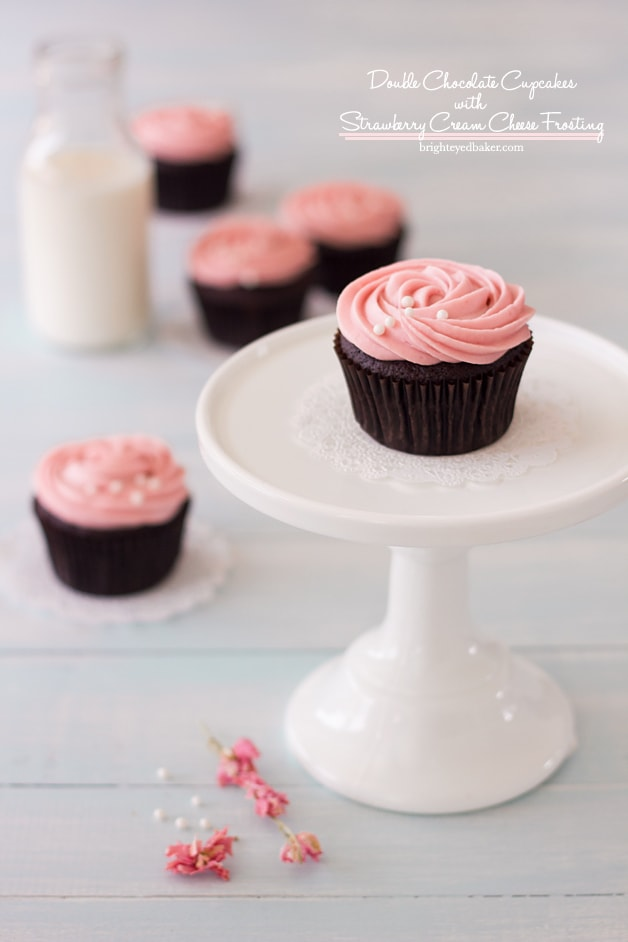 Double Chocolate Cupcakes With Strawberry Cream Cheese