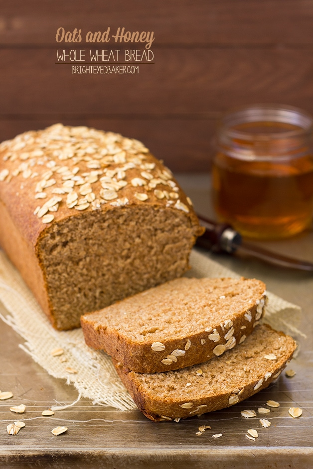 Oats and Honey Whole Wheat Bread - say goodbye to boring whole wheat bread! This version is light and tender, slightly sweet, and packed with flavor. | brighteyedbaker.com