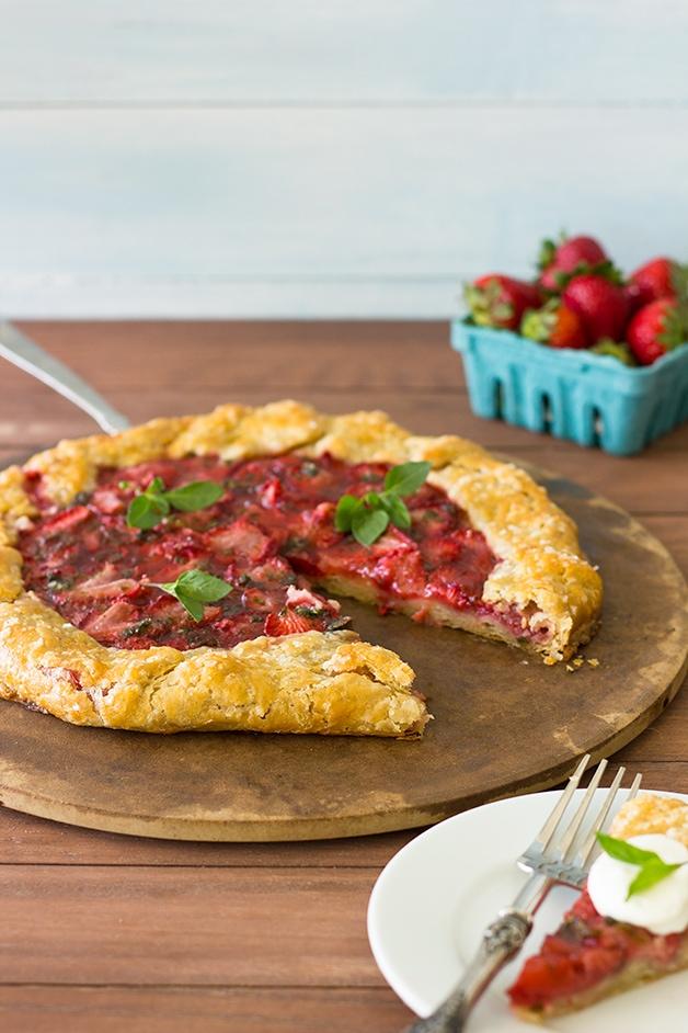 Strawberry Basil Galette with Basil Whipped Cream | brighteyedbaker.com #dessert #strawberries