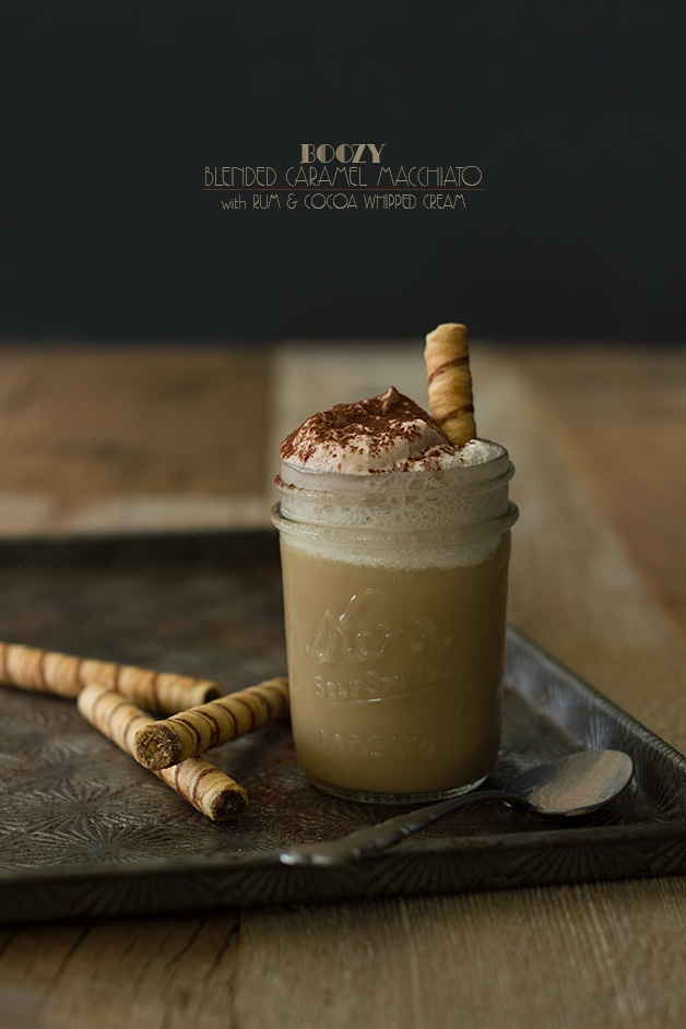 Boozy Blended Caramel Macchiato with Rum & Cocoa Whipped Cream | www.brighteyedbaker.com