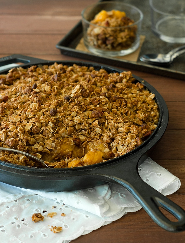 Skillet Peach Pie Crumble - an incredibly easy and comforting summer dessert loaded with sweet yellow peaches.| brighteyedbaker.com