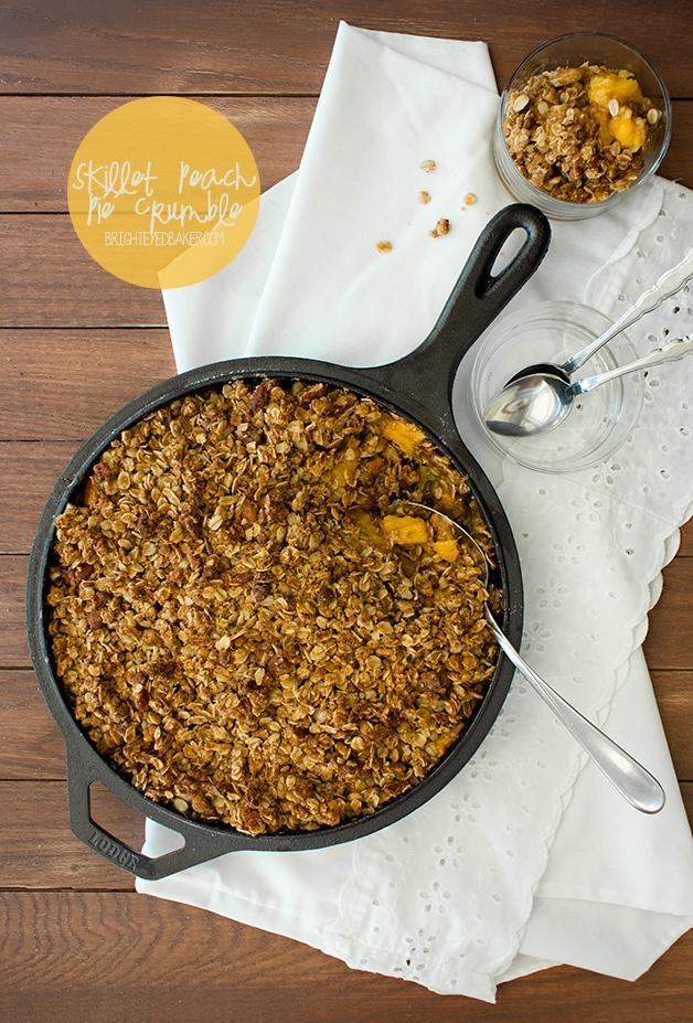 Skillet Peach Pie Crumble - an incredibly easy and comforting summer dessert loaded with sweet yellow peaches.  brighteyedbaker.com
