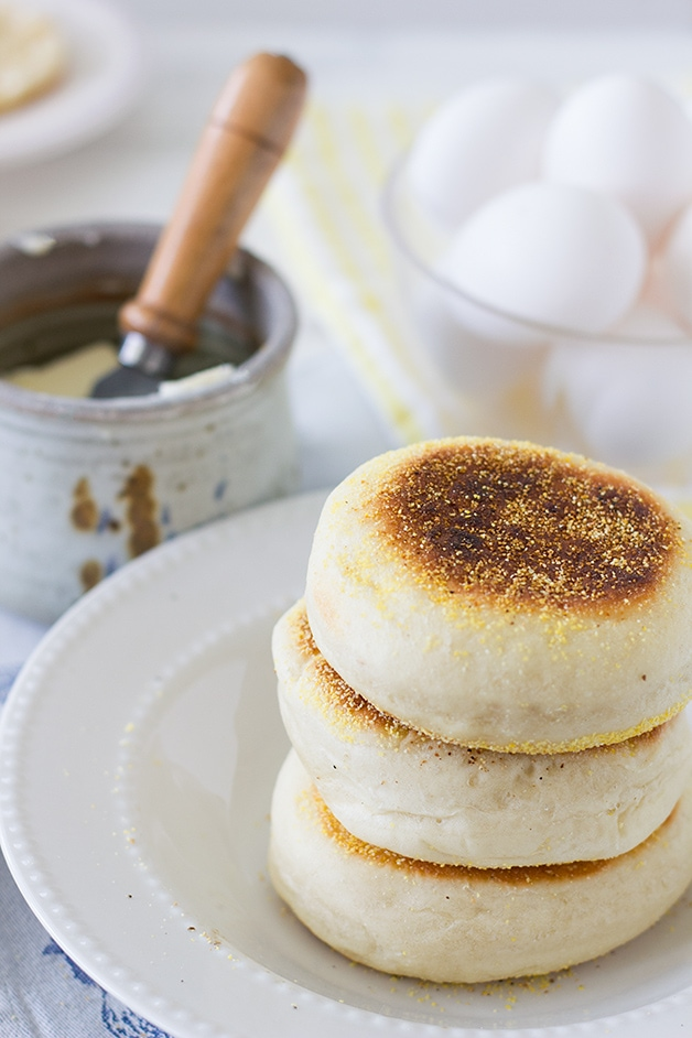 Sourdough English Muffins - soft and puffy English made at home with a simple fry pan. | www.brighteyedbaker.com