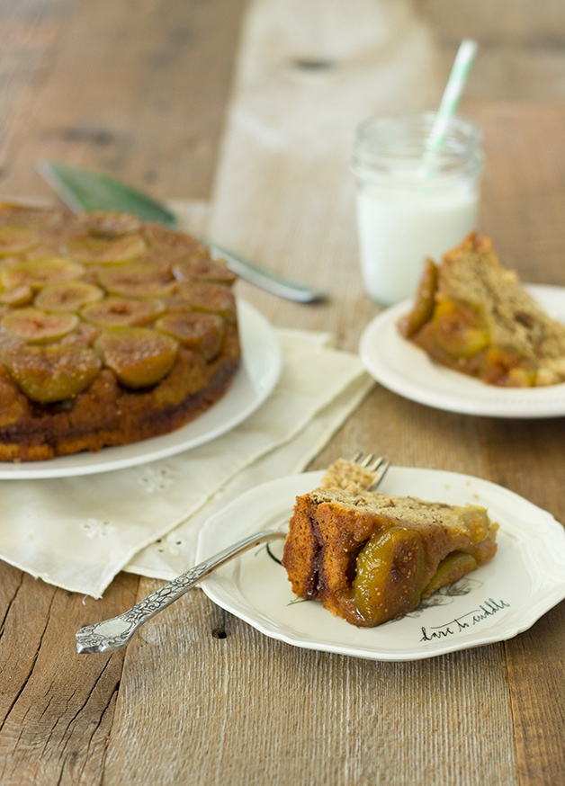Fig Upside-Down Cinnamon Swirl Cake - a soft and tender whole wheat cake with a ribbon of cinnamon sugar and a sweet fig layer on top.| brighteyedbaker.com