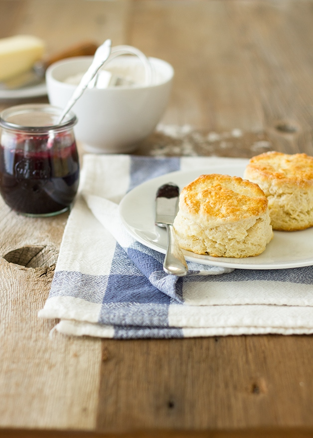 Fluffy Buttermilk Scones - simple, lightly sweetened scones, perfect with butter and jam on a lazy morning. | www.brighteyedbaker.com
