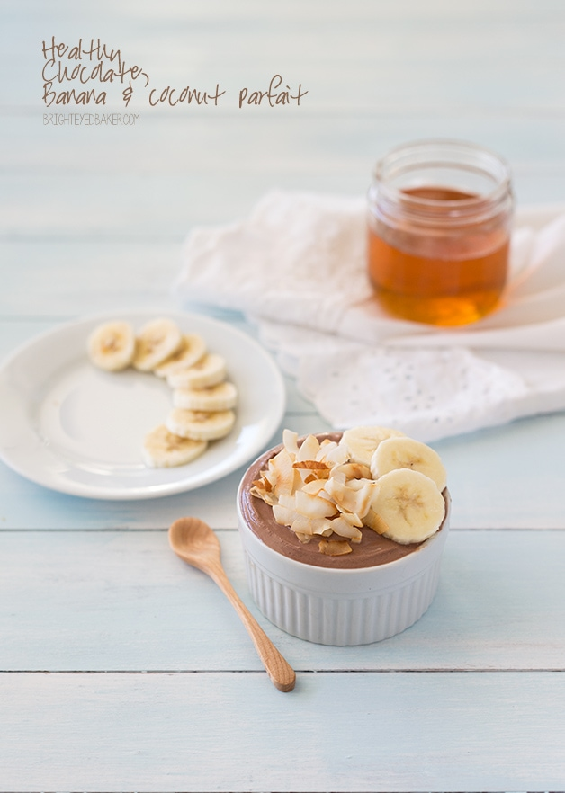 Healthy Chocolate, Banana, and Coconut Parfait | an easy-to-make snack (or dessert!) that's creamy, chocolate-y, and basically guilt-free! | www.brighteyedbaker.com