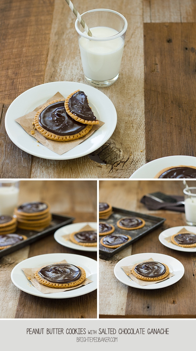 Peanut Butter Cookies with Salted Chocolate Ganache - two amazing flavors come together in one super-soft cookie. | www.brighteyedbaker.com #OXOGoodCookies