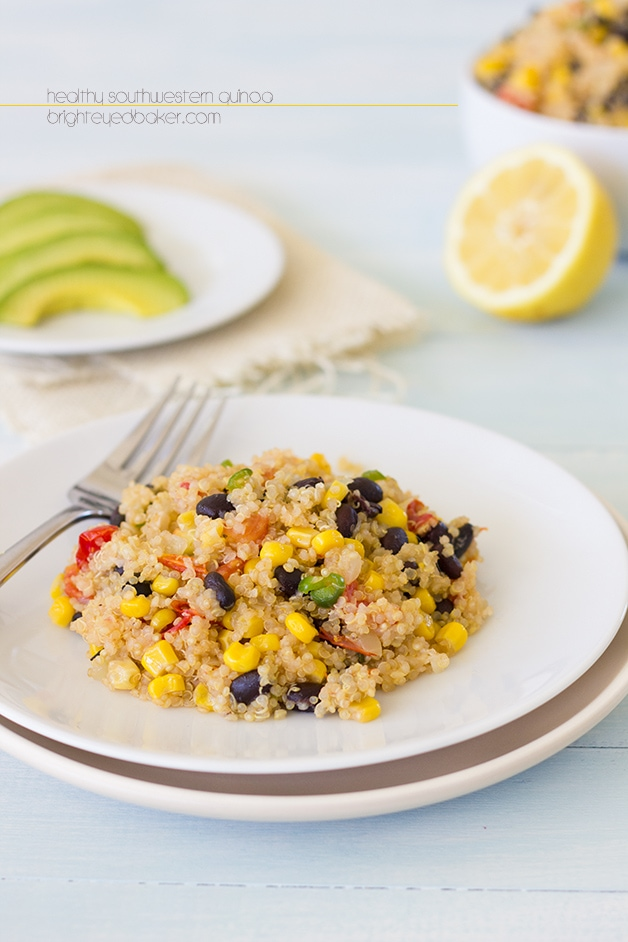 Healthy Southwestern Quinoa - a quick and easy dish packed with veggies that's anything but boring!  www.brighteyedbaker.com