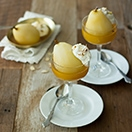 Almond Champagne Poached Pears with Almond Whipped Cream | www.brighteyedbaker.com