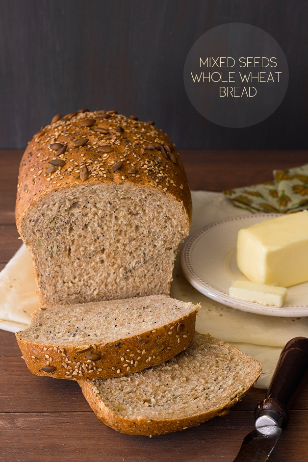 Mixed Seeds Whole Wheat Bread  - use all your favorite seeds to make this hearty whole wheat loaf. | brighteyedbaker.com