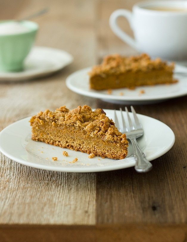 Pumpkin Pie Crumb Bars - pie crust gets swapped out for a moist, cake base and a irresistible crumble topping in this easy recipe.