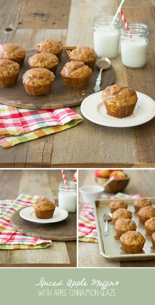 Spiced Apple Muffins with Apple Cinnamon Glaze - an light fall treat that's easy to whip up. | http://www.brighteyedbaker.com #fallrecipes
