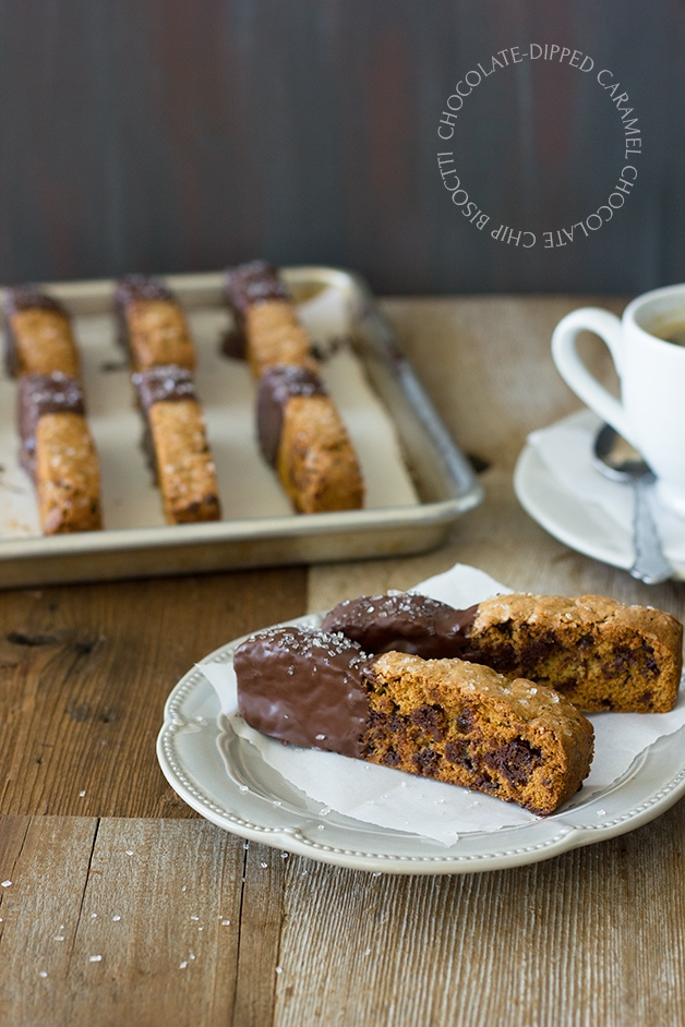 Chocolate-Dipped Caramel Chocolate Chip Biscotti - think caramel mocha in dunkable, crunchy cookie form! | www.brighteyedbaker.com
