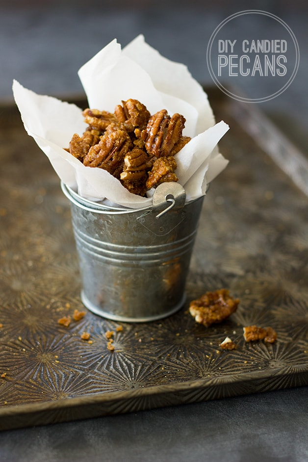 DIY Candied Pecans - it takes 5 minutes to turn regular pecans into this dangerously addicting treat.| www.brighteyedbaker.com