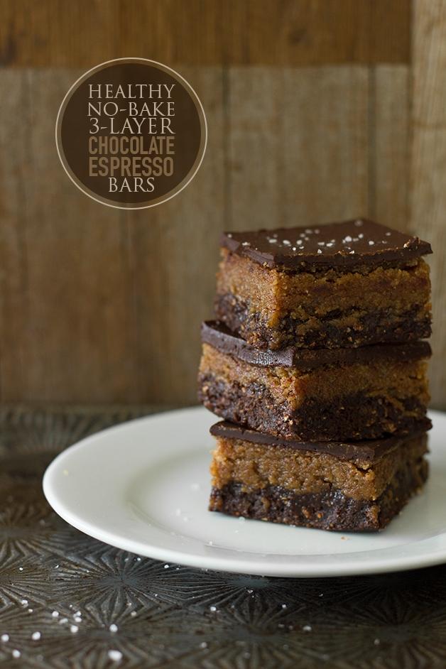 Healthy No-Bake 3-Layer Chocolate Espresso Bars - dessert taste without the guilt!| www.brighteyedbaker.com