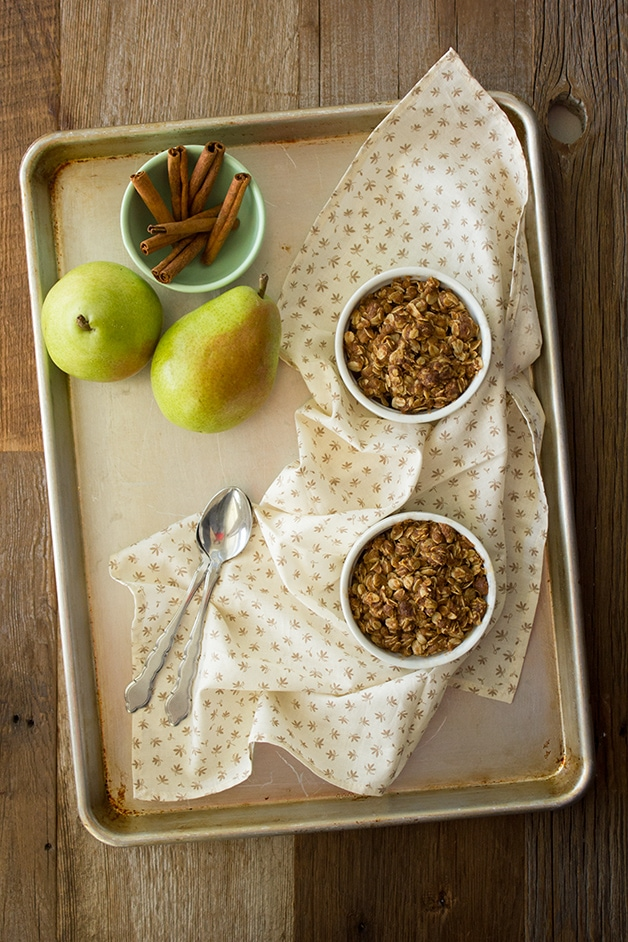 Warm Pear Crumble {for two} - a simple, small-batch crumble recipe with a spiced pear filling.