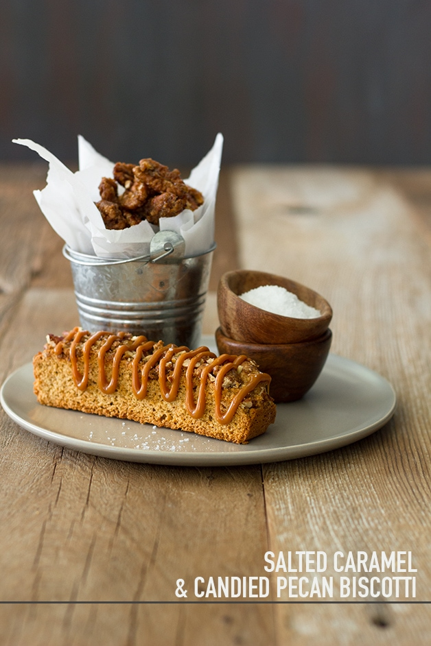 Salted Caramel & Candied Pecan Biscotti - crunchy candied pecans, a sweet caramel drizzle, and a sprinkle of sea salt turn simple biscotti into an extra-tempting treat.  | www.brighteyedbaker.com