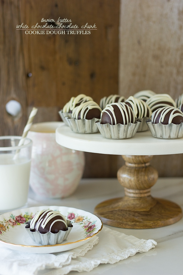 Brown Butter White Chocolate-Chocolate Chunk Cookie Dough Truffles ...