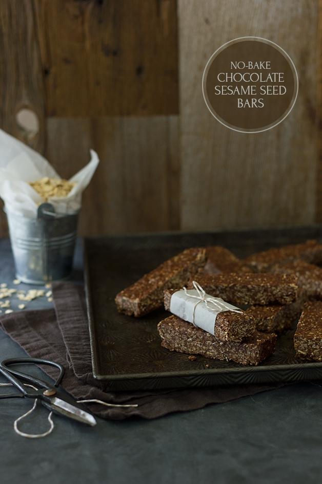 No-Bake Chocolate Sesame Seed Bars - sesame-flecked chocolate bars with a honey & tahini twist. {gluten-free}