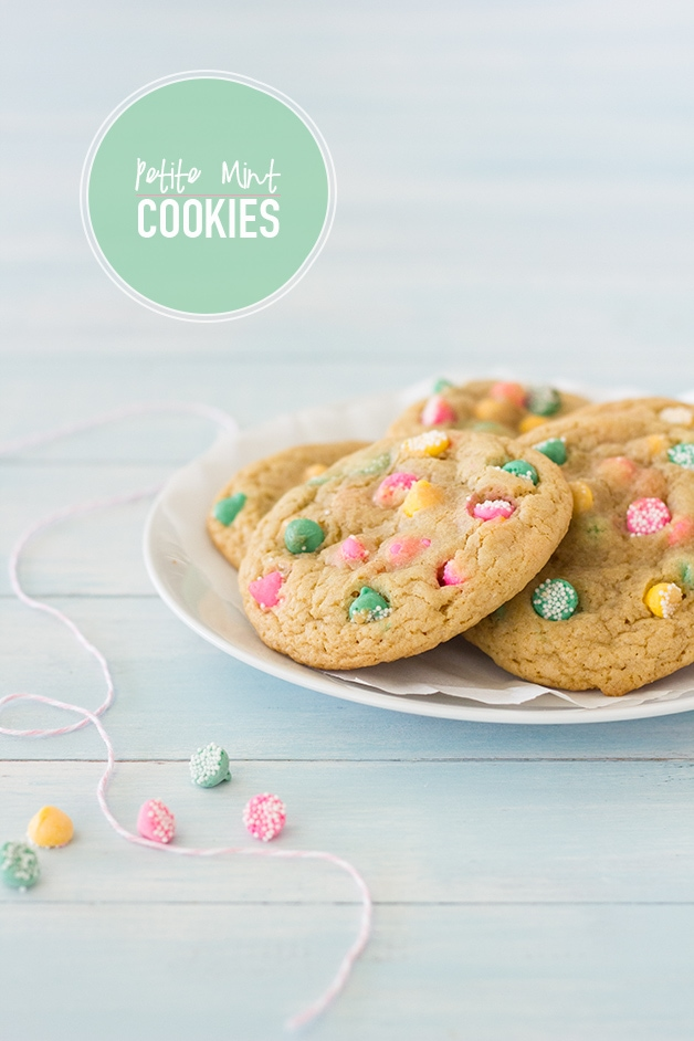 Petite Mint Cookies - soft and chewy cookies studded with colorful petite mint chips. | www.brighteyedbaker.com