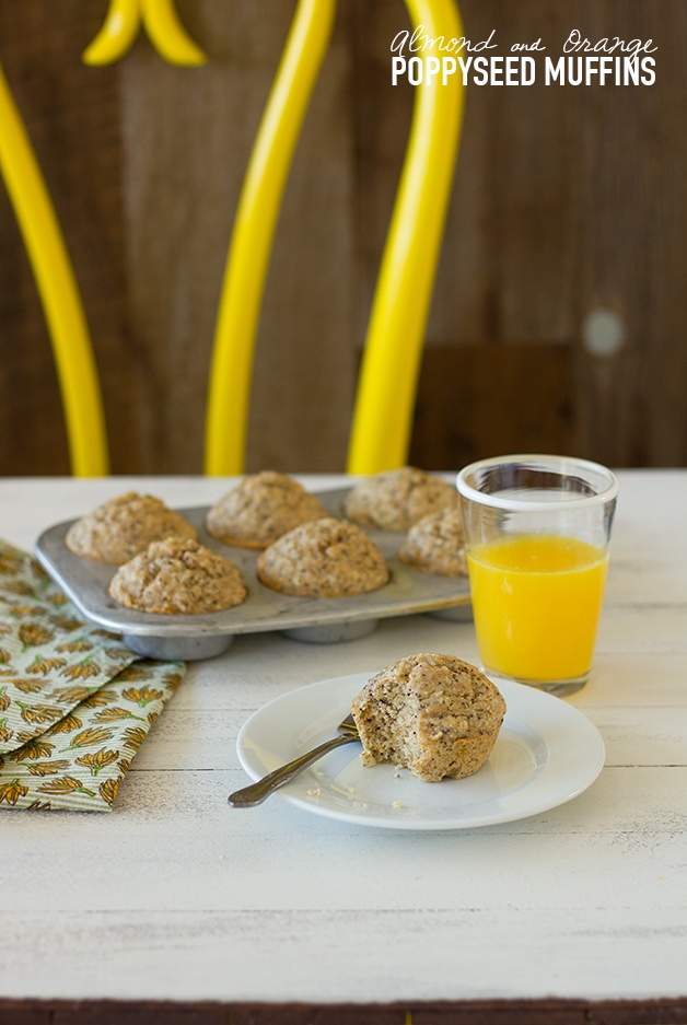 Almond & Orange Poppyseed Muffins - tender and moist muffins packed with whole grains, boosted with healthy fats, and brightened up with an orange kick! {dairy-free} | www.brighteyedbaker.com