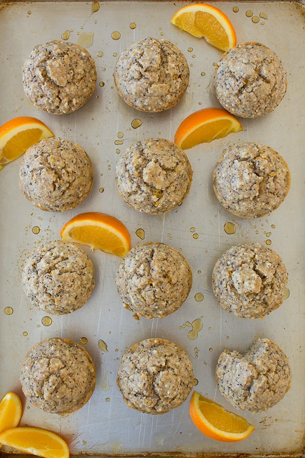 Almond & Orange Poppyseed Muffins - tender and moist muffins packed with whole grains, healthy fats, and a bright orange kick! {dairy-free}