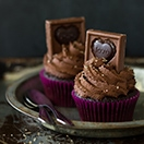Dark Chocolate Espresso Cupcakes - moist chocolate cupcakes frosted with whipped ganache make a rich chocolate treat with a bold coffee kick! Perfect for Valentine's Day| www.brighteyedbaker.com #GhirardelliVday #CG